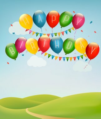 Retro holiday background with colorful balloons and landscape. V