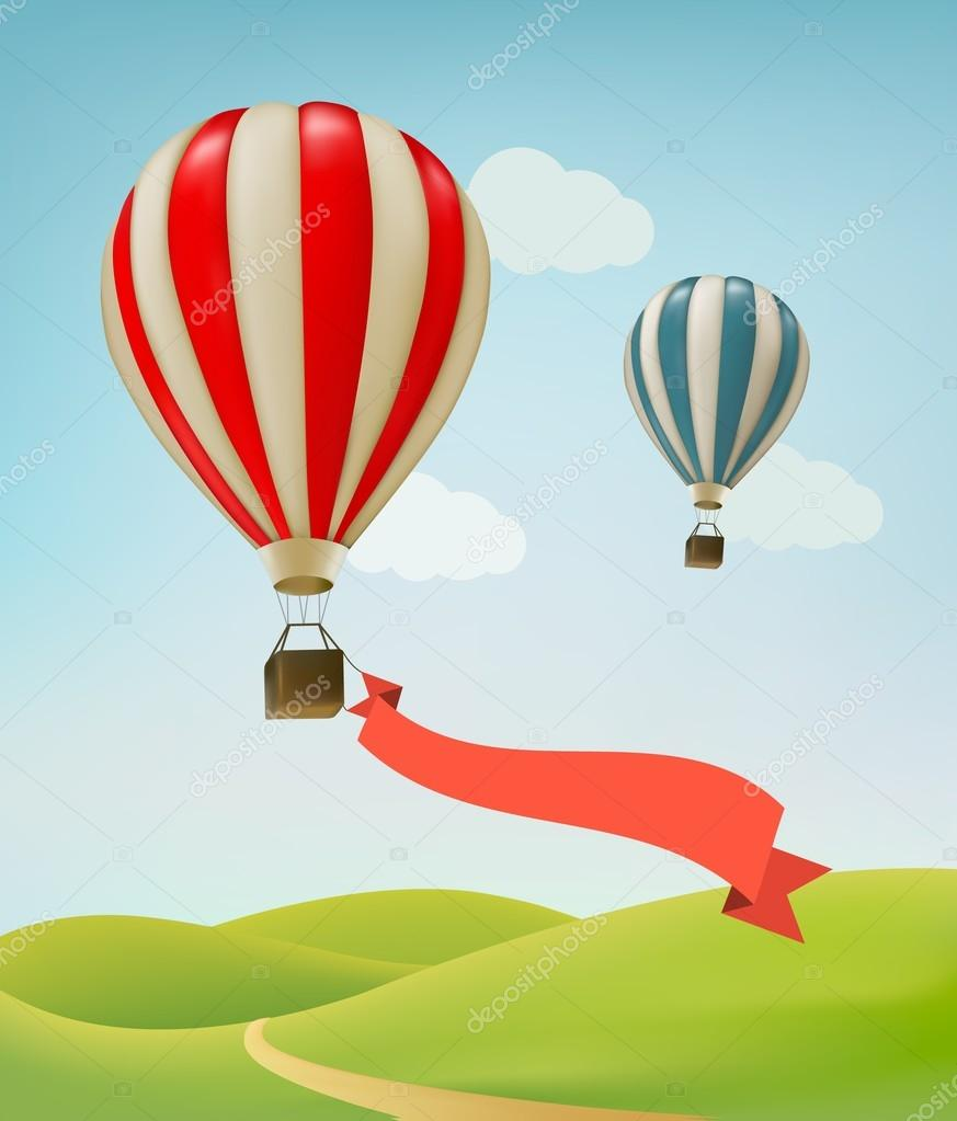 Hot air balloons in the sky. Vector.