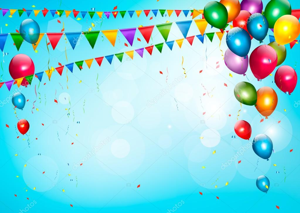 Colorful holiday background with balloons and flags. Vector