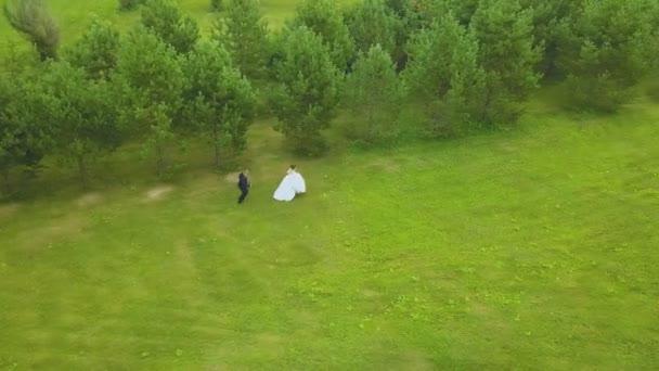 ženich následuje běží nevěsta v dlouhých šatech na poli antény