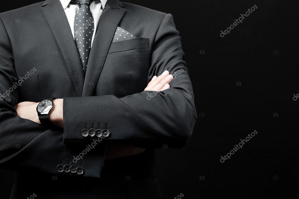 hombre en traje en un fondo negro — Foto de stock © fotomaximum ... 66b077b02b0