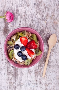 Muesli with yogurt and fruits