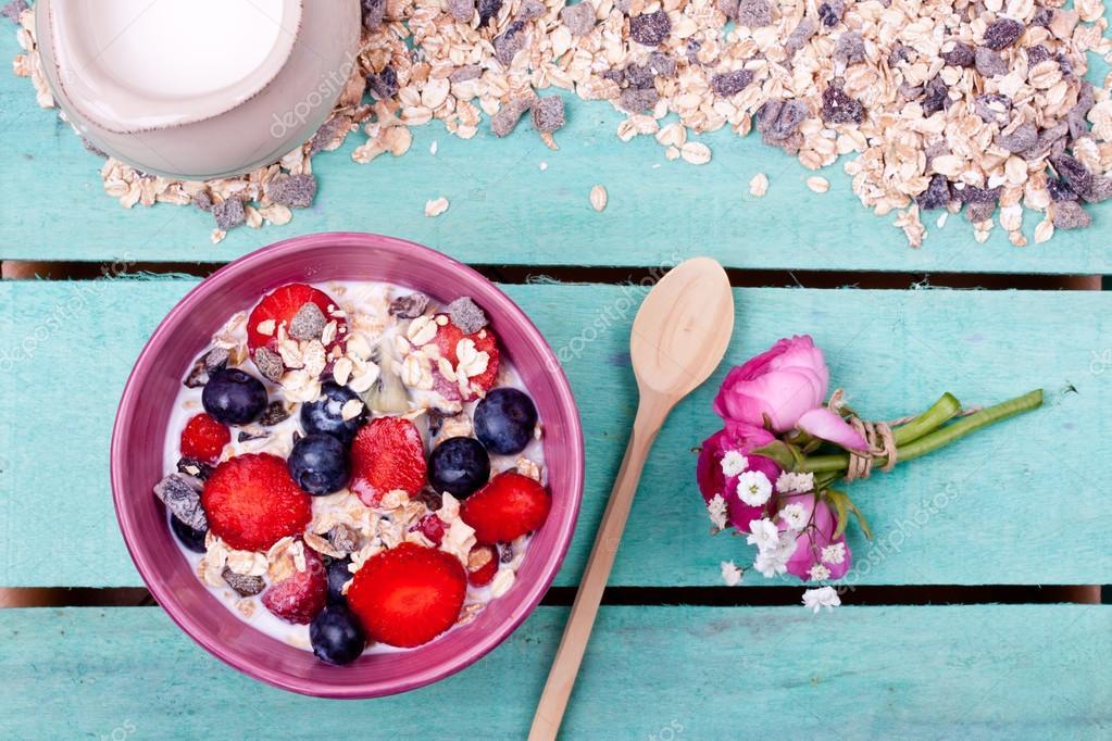Muesli in bowl on table