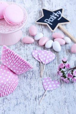 Sugar coated candies, cupcake baking cups, macaroons