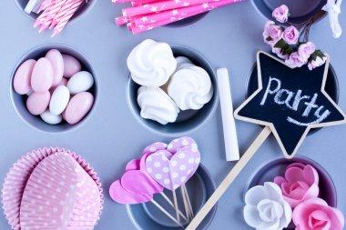Meringues, Sugar coated candies, cupcake baking cups