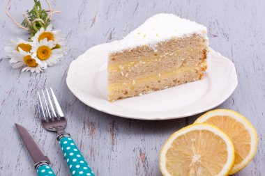 a slice of lemon cake