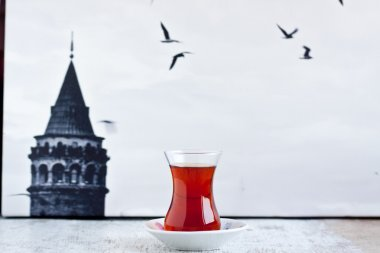 tea and istanbul photo as a background