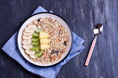 Plate of Muesli with fruit