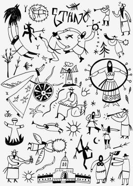 Ethnic musicians - doodles set