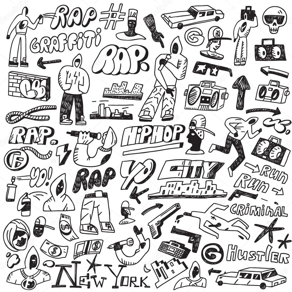 rap hip hop graffiti doodles set stock vector topform 54704439