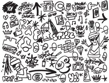 rap music , hip hop , graffiti icons set