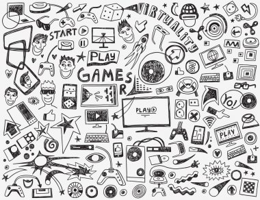 Computer games - set vector icons in sketch style stock vector