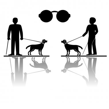 Blind man and his guide dog