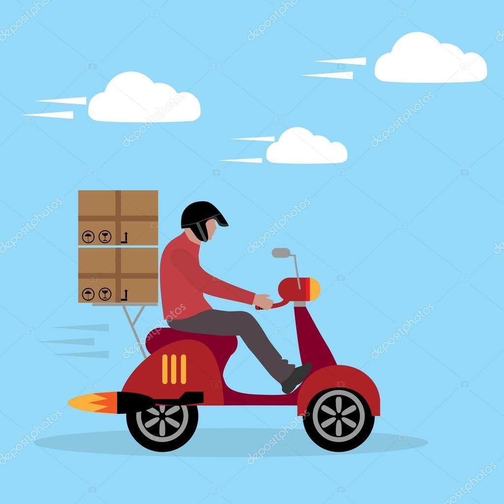 service de livraison boy ride scooter image vectorielle. Black Bedroom Furniture Sets. Home Design Ideas