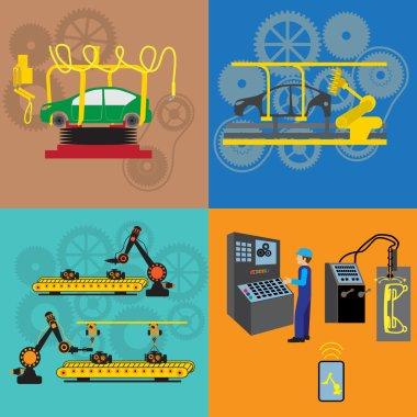 Robots working in factory