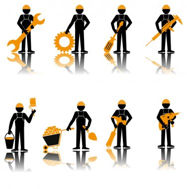 Builder set. Construction worker