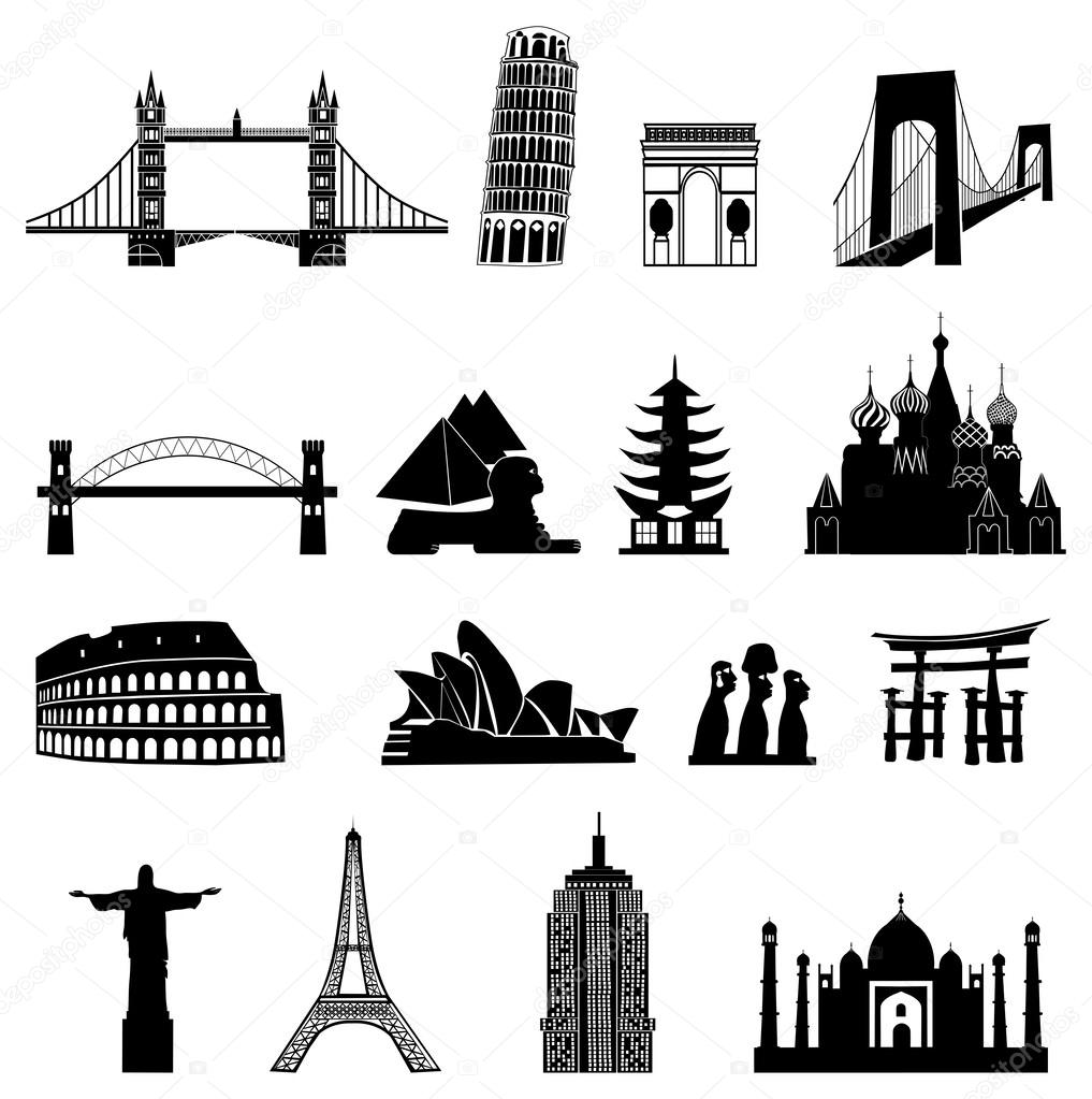 Set Of Icons Buildings Ancient History Stock Vector