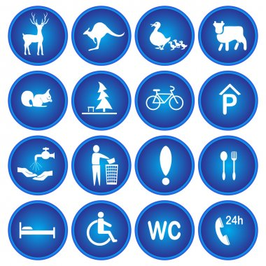 Blue signs warning
