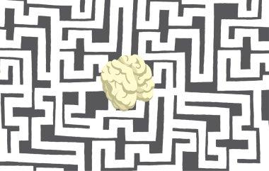 Brain hidden in complex maze or labyrinth