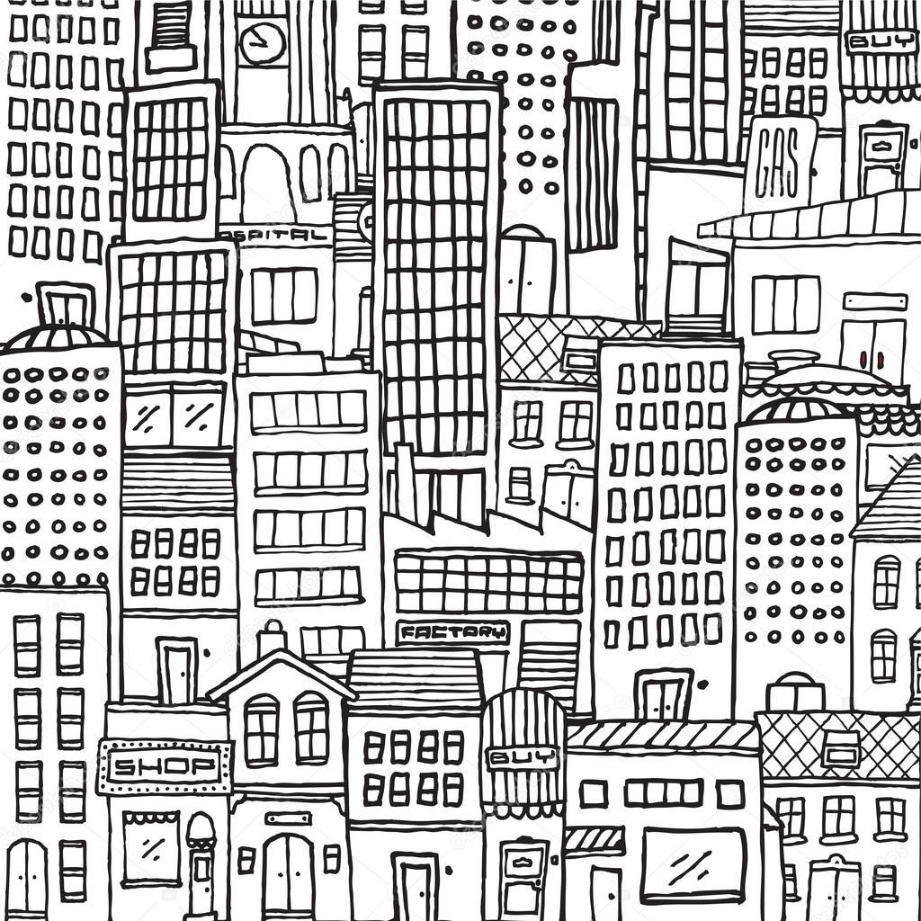 Textura de ciudad de dibujos animados de blanco y negro para ...