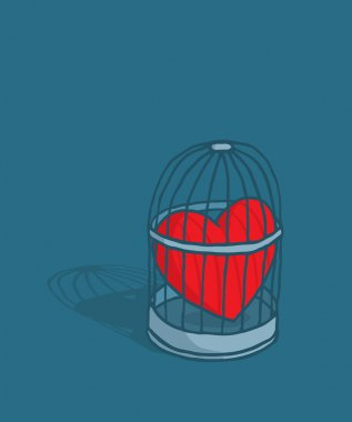 Heart or love trapped in cage