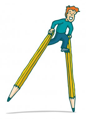 Young kid walking on pencil stilts