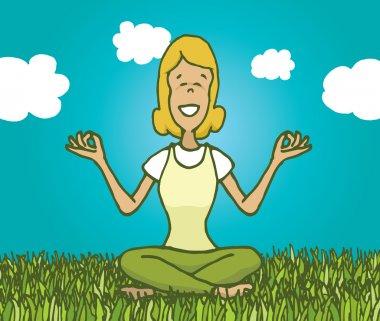 Cartoon illustration of woman practising yoga and meditating outdoors feeling nature clip art vector