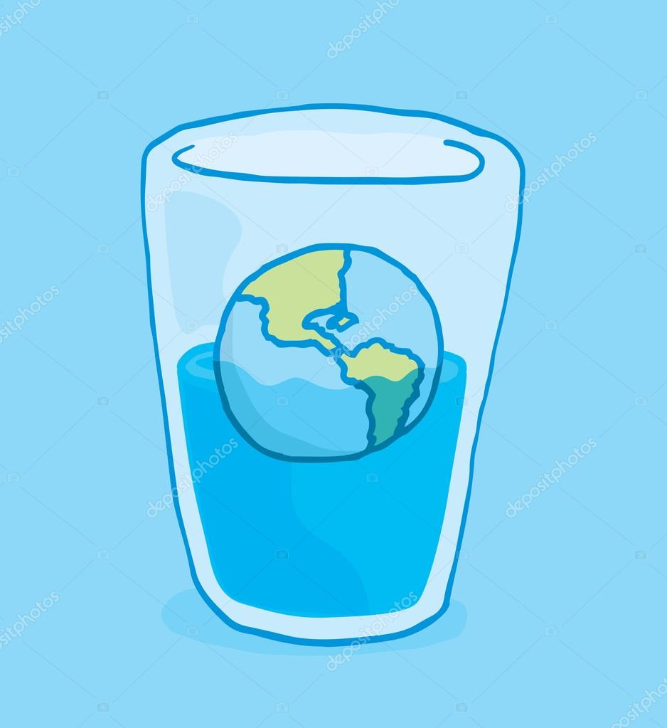 Planet earth flooding and sinking into glass of water