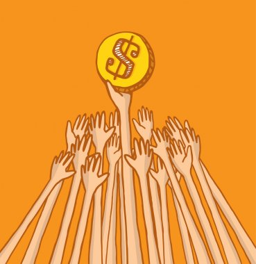 People fighting over coin or money