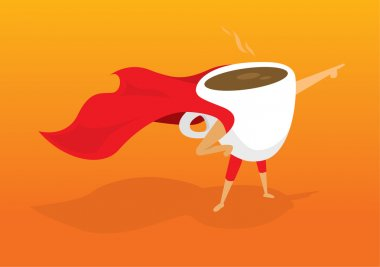 Super hero coffee breakfast pointing aiding to morning rescue