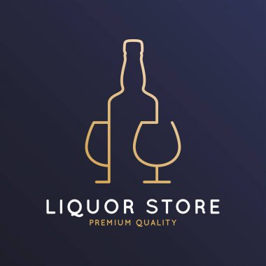 Liquor store logo with bottle of whiskey, rum or brandy and glass on dark blue background 10 eps icon