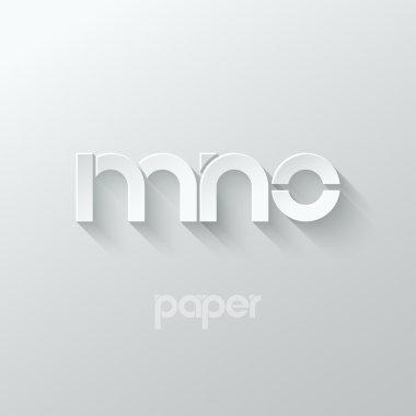 letter M N O logo alphabet icon paper set background