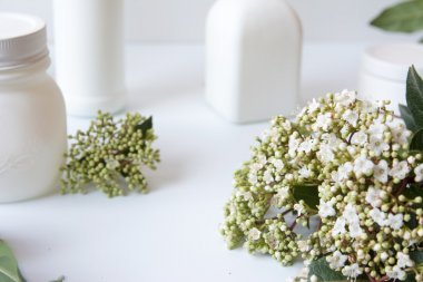 Bouquet of flowers on desk white background