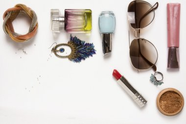 Still life of fashion woman. Feminine fashion cosmetic objects
