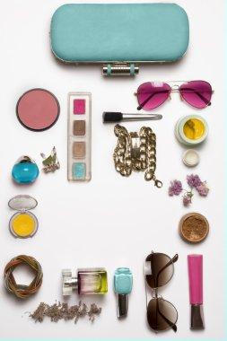 Still life of fashion woman. Feminine fashion cosmetic objects
