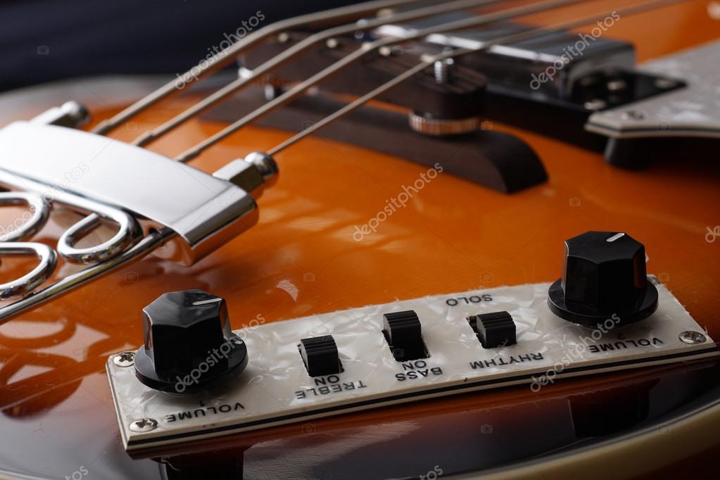 Closeup of electric guitar  Detail, selective focus  — Stock Photo