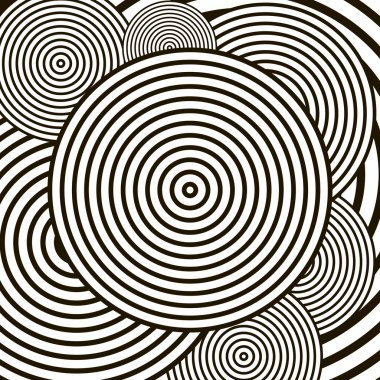 Black and white optical illusion circle vector background