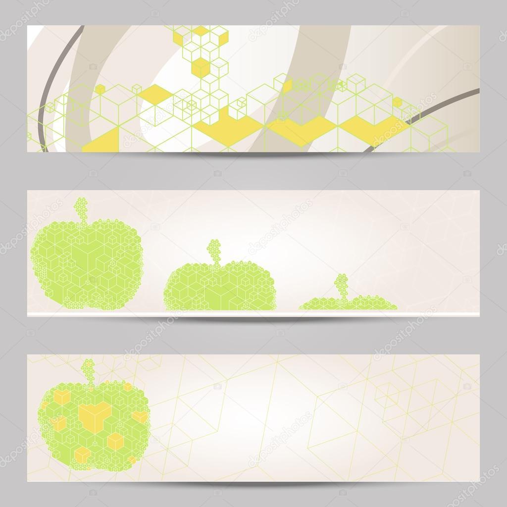 Satz von modernem Design Banner Header Vorlage mit abstrakten Würfel ...