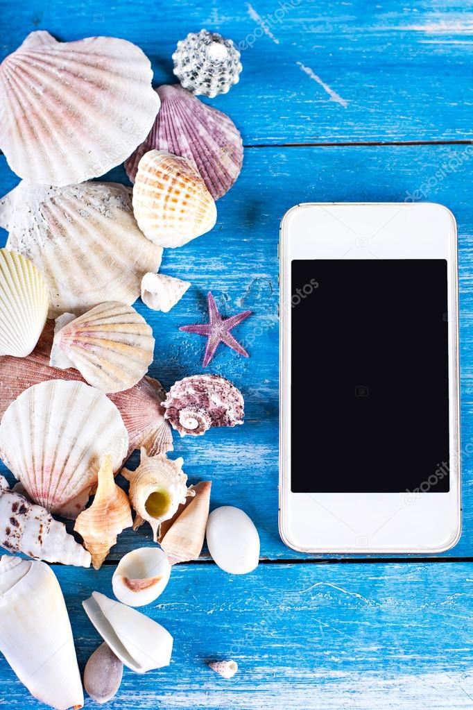 time to rest, tablet, seashells,