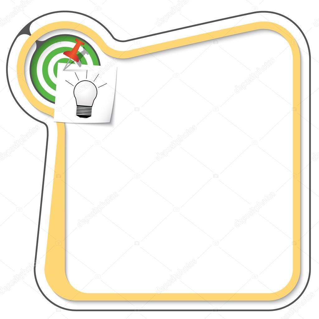 Marco amarillo para su texto con el rumbo, destino y bulbo — Vector ...