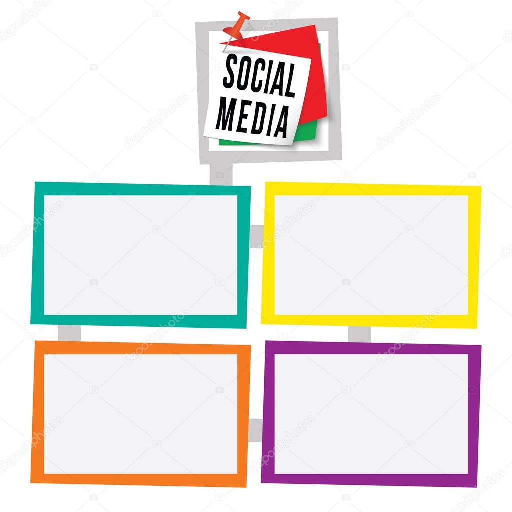Four colored frames for your text with pushpin and social media ...