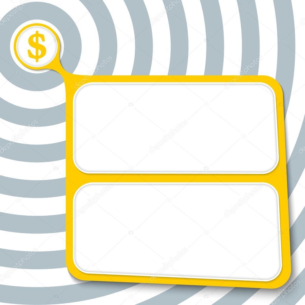 Resumen cuadro amarillo el símbolo texto y dólar — Vector de stock ...