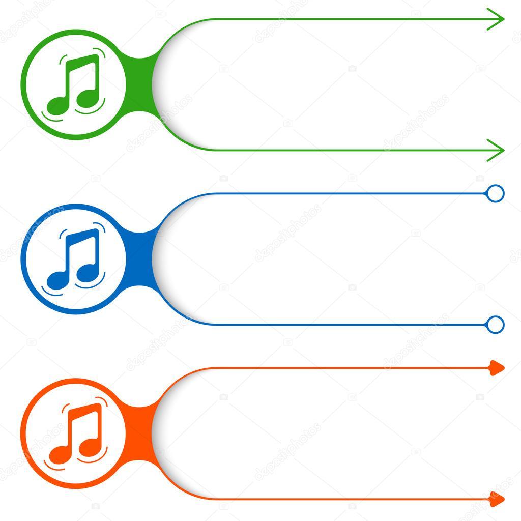 Drei Vektor Frames für Ihre Text und Musik-Ikone — Stockvektor ...