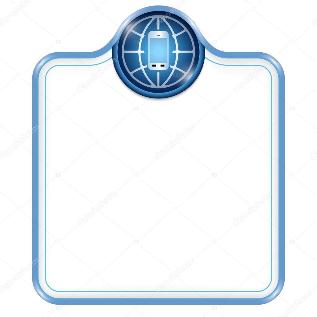 Marco azul vector para el texto y el teléfono inteligente — Vector ...