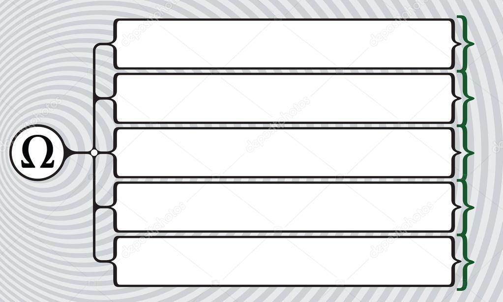 Vector Vierkante Haken Voor Uw Tekst En Omega Symbool Stockvector