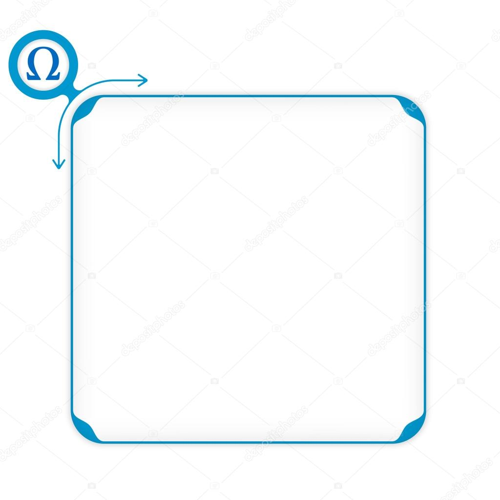 Vector Blue Box To Fill Your Text And Omega Symbol Stock Vector