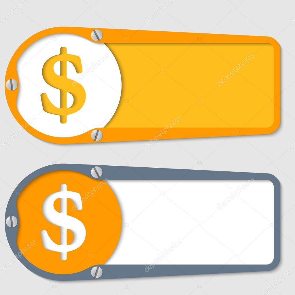 conjunto de dos cuadros de texto con el símbolo de dólar — Archivo ...