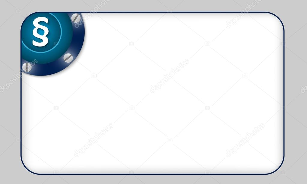 Blue Box For Any Text With Paragraph Symbol Stock Vector