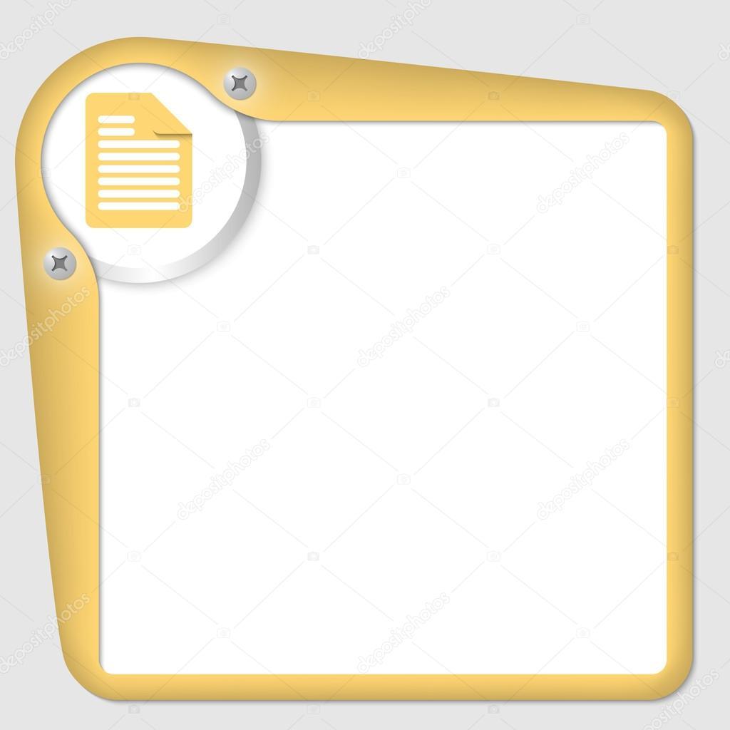 gelber Rahmen für Text mit Symbol \