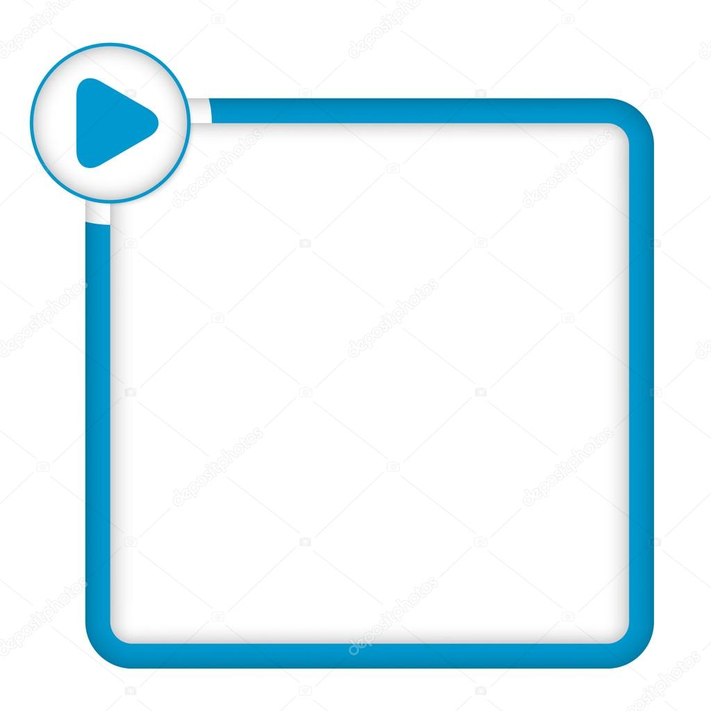 Blue Frame For Any Text With Play Symbol Stock Vector